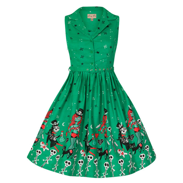 Matilda Green Witch Doctor Print Shirt Dress