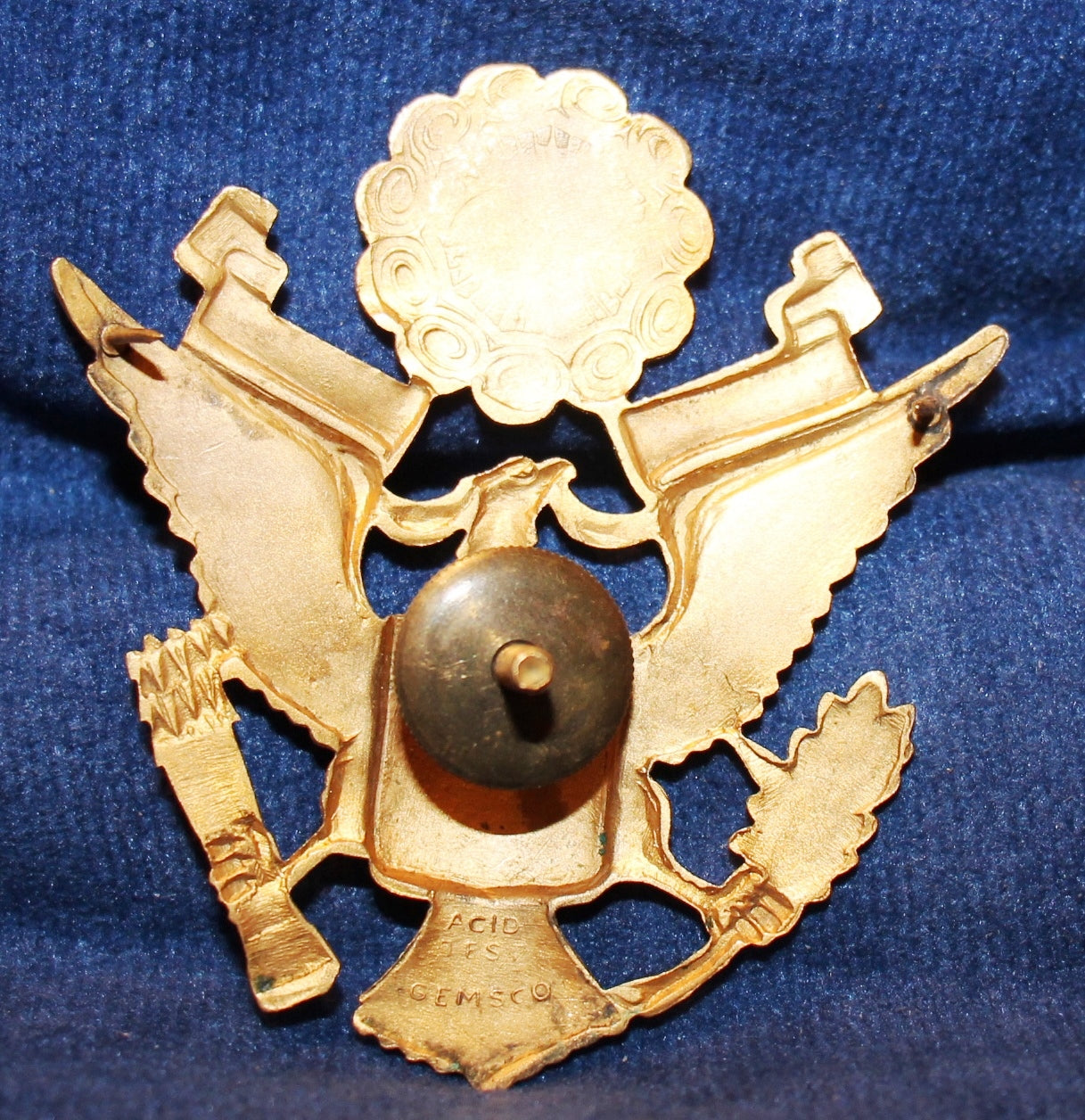 WWII US ARMY/ARMY AIR FORCE OFFICER'S GEMSCO LARGE HAT BADGE | M&
