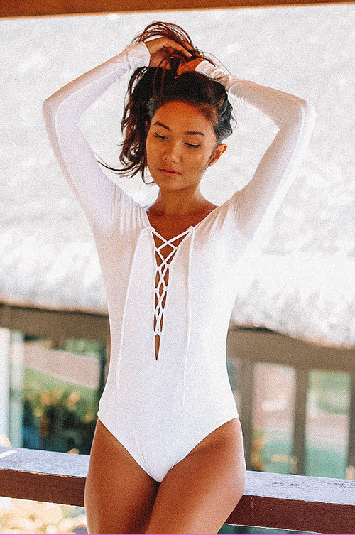 Negritas White Bikini One Piece Swimmie