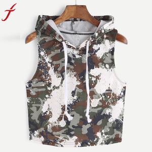 Camouflage Tank Top Hooded Sleeveless T-Shirt Vest
