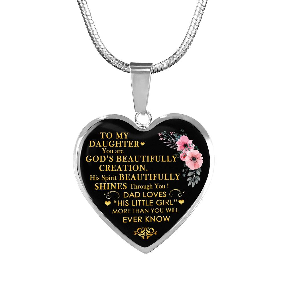 Heart Necklace Pendant Father Daughter Dad Loves Daughter Gifts