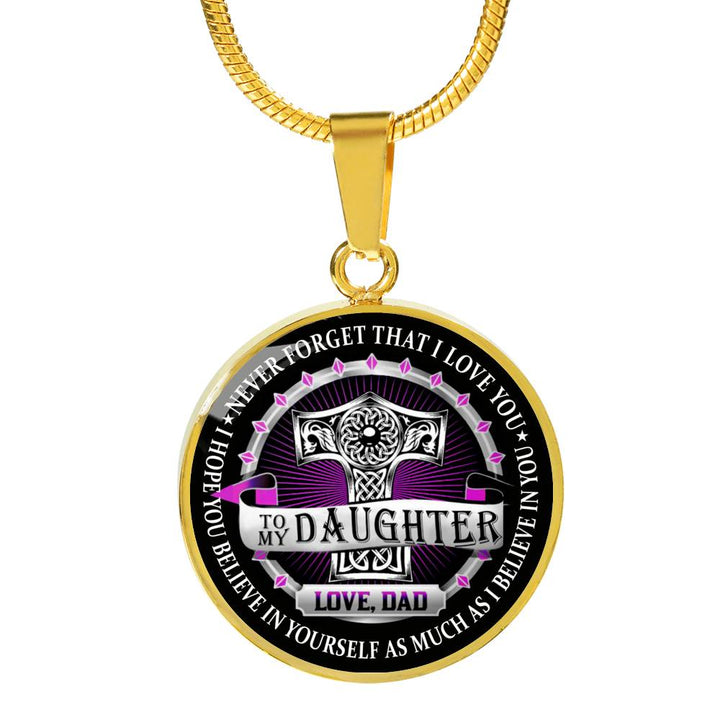 1b0a2c7fbaa49 Father Daughter 18k Gold Necklace To My Daughter Never Forget That I love  you