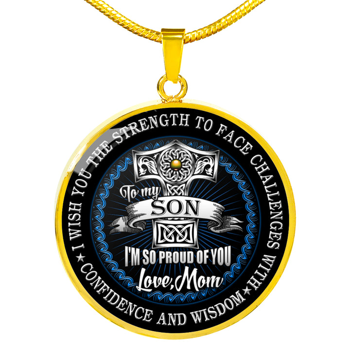 Mother & Son Necklace - I wish you the Strength to Face Challenges Circle  Neckla