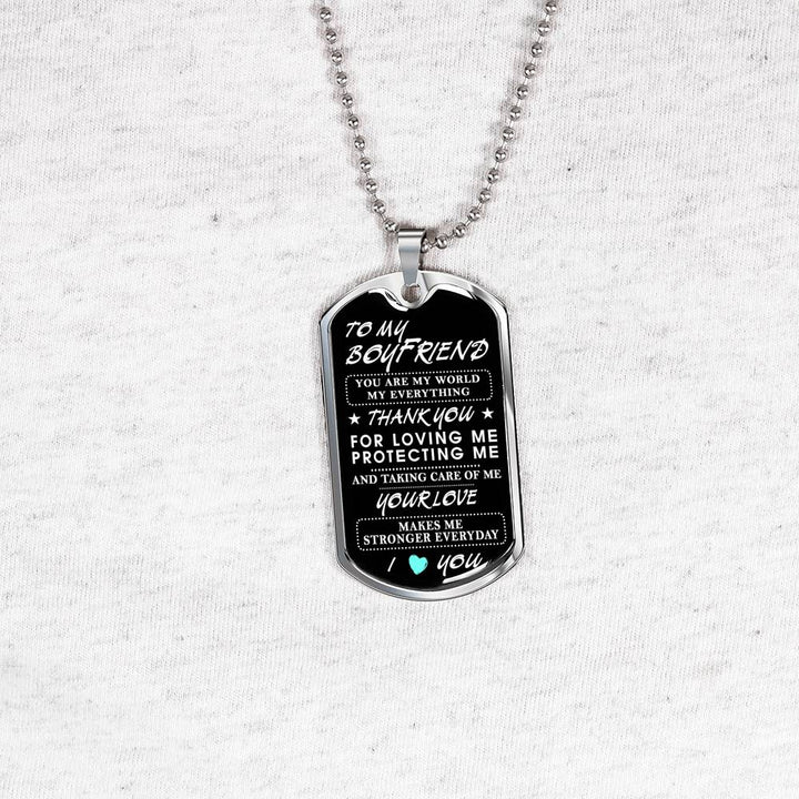 Love Quotes Dog Tag To My Boyfriend Necklace Thank You For Loving