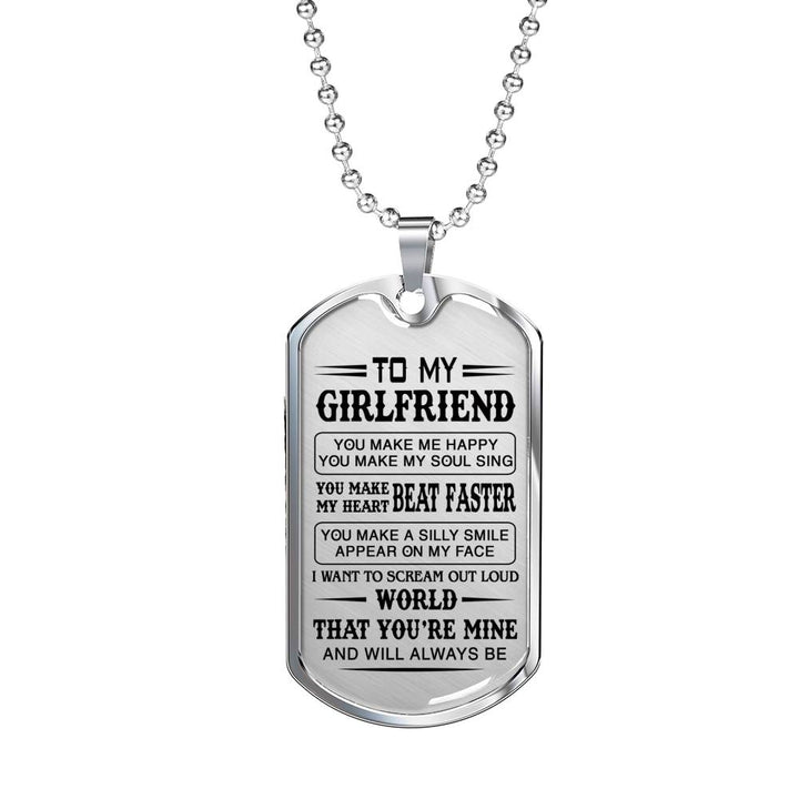 Love Quotes For Girlfriend Dog Tag Necklace Inspirational Gifts