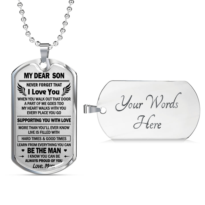 8ec08192a4bc To My Son Pendant Necklace From Mom - Always Proud Of You Dog Tag Military  Luxur