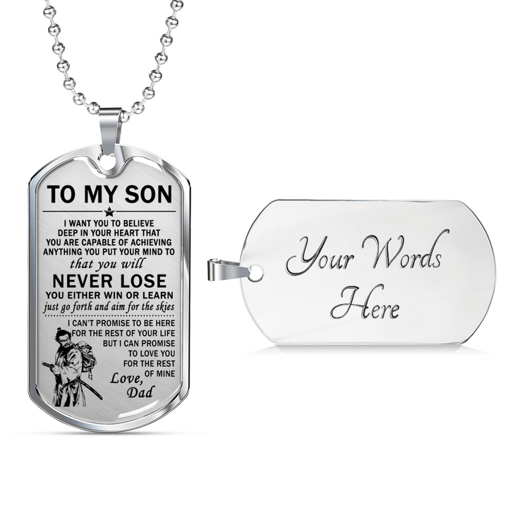 bushido they way of warrior to son dog tag necklace from dad