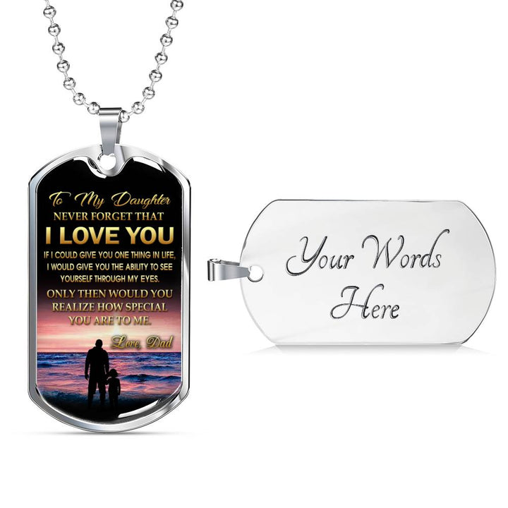 Personalized Engraving Father Daughter Necklace Jewelry