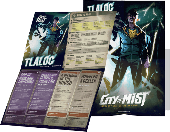 Tlaloc Character Folio Playbook | City of Mist Tabletop RPG (TTRPG)