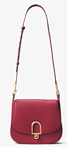 MICHAEL Michael Kors Delfina Small Leather Saddle Bag in Burnt Red