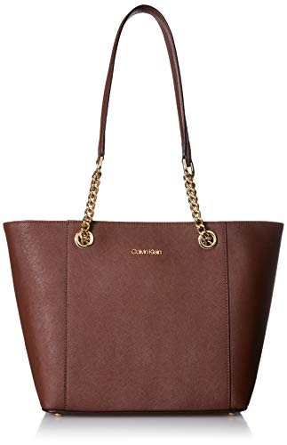 Calvin Klein Hayden Saffiano Leather East/West Top Zip Chain Tote, walnut