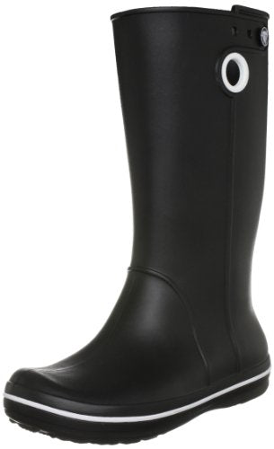 crocs Women's Crocband Jaunt Rain Boot,Black,8 W US