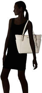 MICHAEL Michael Kors Jet Set Large Top-Zip Leather Tote (Cement)