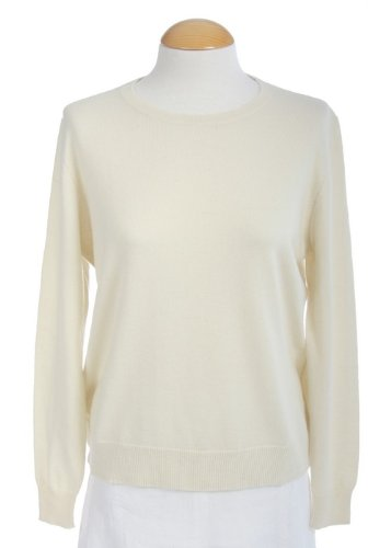 Shephe 4 Ply Womens Round Neck Cashmere Sweater White (Medium)