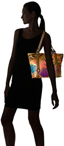 Anna by Anuschka Handpainted Leather Classic Large Tote, Floral Safari Brown, Fsb-Floral Safari Brown