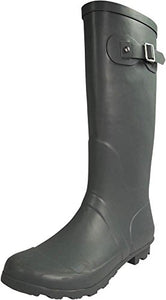 NORTY - Womens Hurricane Wellie Solid Gloss Hi-Calf Rain Boot, Matte Charcoal 39970-9B(M)US