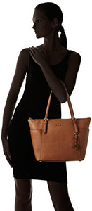Michael Kors Women's Jet Set Large Top-Zip Saffiano Leather Tote Bag, Luggage, OS