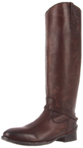 FRYE Women's Lindsay Plate Knee-High Boot, Dark Brown Stone Wash Leather, 8.5 M US