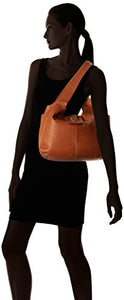 Piel Leather Small Flap Hobo Bag, Saddle, One Size