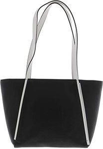 MICHAEL Michael Kors M Small Top Zip Leather Tote, Black/Optic White
