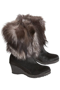 Overland Sheepskin Co. Women's Angelina Wool-Lined Calfskin Boots With Fox Fur Trim, Black/Silver, Size EU40