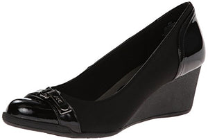 Anne Klein Sport Women's Tamarow Fabric Wedge Pump, Black, 9.5 M US