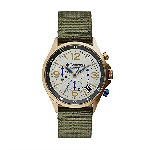 Columbia Canyon Ridge Stainless Steel Quartz Watch with Nylon Strap, Green, 10 (Model: CSC02-004)