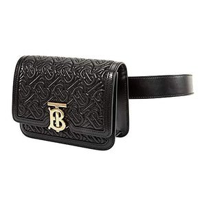 Burberry Belted Quilted Monogram Lambskin TB Bag- Black