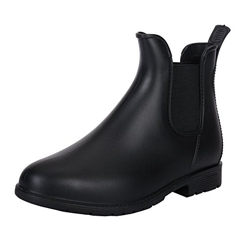 Unisex Couple Women's Mens Short Ankle Rain Boots Slip On Winter Chelsea Booties with Elastic Goring Black EU39-Women US 8 =Men US 7