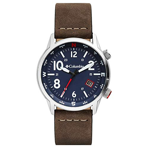 Columbia OUTBACKER Stainless Steel Quartz Watch with Leather Strap, Brown, 11 (Model: CSC01-001)
