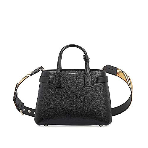 Burberry Small Banner Leather Tote- Black