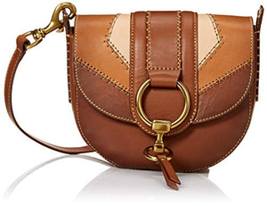 FRYE Ilana Color Block Saddle Crossbody Leather Bag, One Size, cognac multi