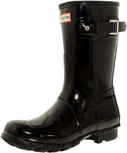 Hunter Women's Original Short Gloss Rain Boots, Black, 8 B(M) US