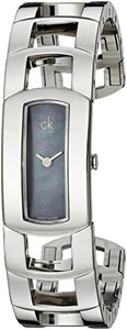 Calvin Klein Women's K3Y2M11F 'Dress' Black Mother of Pearl Dial Stainless Steel Bangle Swiss Quartz Watch