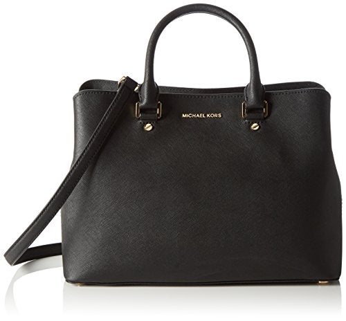 MICHAEL Michael Kors Women's Large Savannah Satchel, Black, One Size