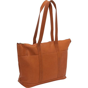 Le Donne Leather Double Strap Large Pocket Tote (Tan)