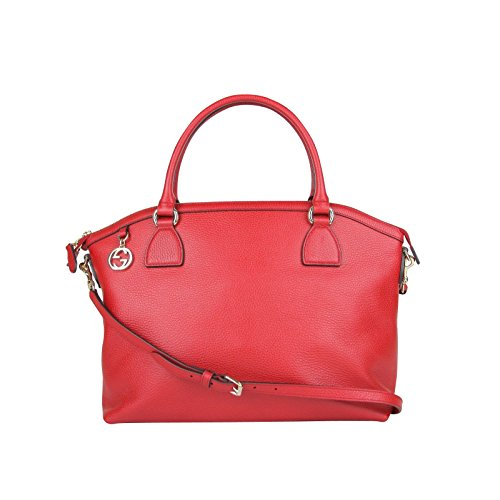 Gucci GG Charm Red Leather Large Convertible Dome Bag With Detachabel Strap 449660 6420
