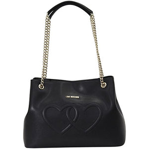 LOVE Moschino Women's Embossed Heart Shoulder Bag Black One Size