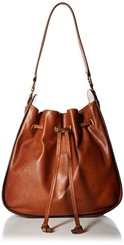 FRYE Ilana Leather Drawstring Hobo Handbag, cognac