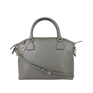 Gucci GG Charm Grey Leather Medium Convertible Dome Bag With Detachable Strap 449651 1226