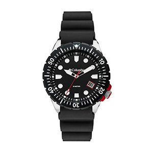 Columbia Pacific Outlander Stainless Steel Quartz Sport Watch with Silicone Strap, Black, 12 (Model: CSC04-001)