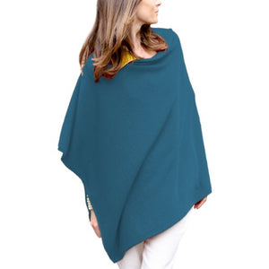 Parisbonbon Women's 100% Cashmere Crew Neck Draped Poncho Color Carolina Blue Size 2X