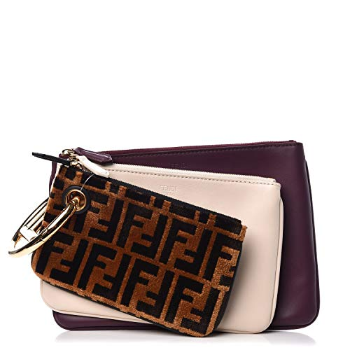 Fendi Triplette FF Zucca Calfskin Three Piece Clutch Bag Pouch Set Tobaco Camelia Beige Burgundy 8BS001