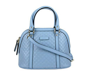 Gucci Women's Light Blue Guccissima Leather Mini Crossbody Dome Bag 449654