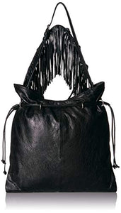 Frye Sacha Small Leather Fringe Hobo, Black