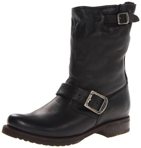 FRYE Women's Veronica Short Boot, Black Soft Vintage Leather, 7 M US