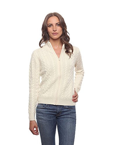 Invisible World Women's 100% Cashmere Premium Cableknit Cardigan Katy Ivory SM