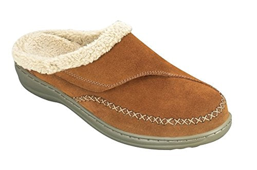 Orthofeet Charlotte Comfort Arthritis Diabetic Arch Support Orthopedic Slippers for Women Brown Leather 8.5 W US