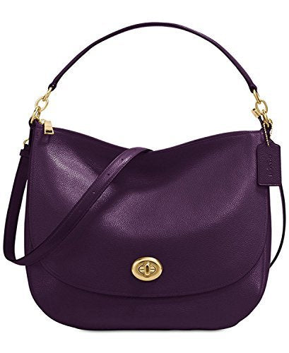 COACH Turnlock Medium Hobo, Light Gold/Aubergine