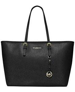 Michael Kors Jet Set Leather Medium Travel Tote, Black